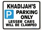 KHADIJAH'S Personalised Parking Sign Gift | Unique Car Present for Her |  Size Large - Metal faced